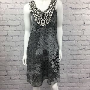 Desigual Black White Flower Sleeveless Dress